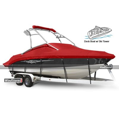 Windstorm Deck Boat Cover with Low Rails
