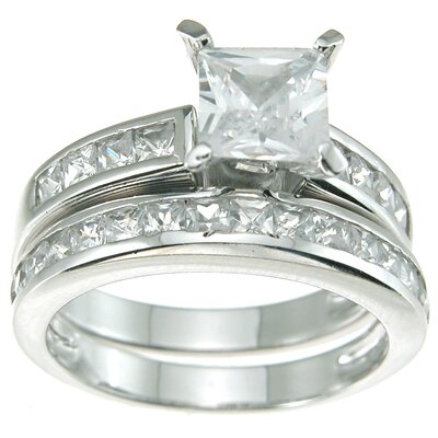 .925 Sterling Silver Princess Cut Cubic Zirconia Solitaire Engagement Ring Set