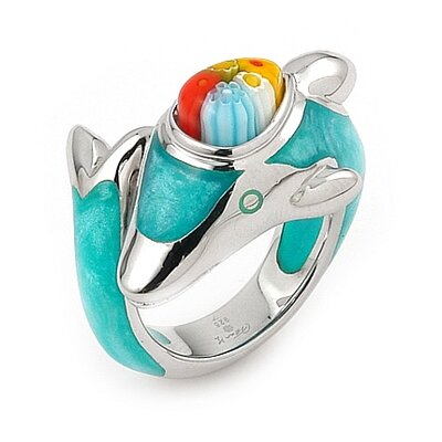 Plutus Partners Millacreli Sterling Silver Dolphin Glass Ring