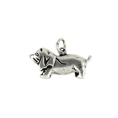 Plain Sterling Silver Dog Charm