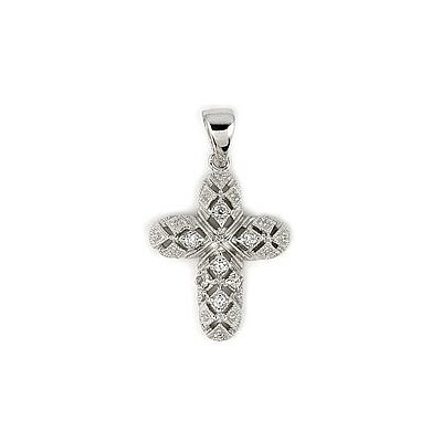 Sterling Silver Princess Cut Cubic Zirconia Cross Pendant