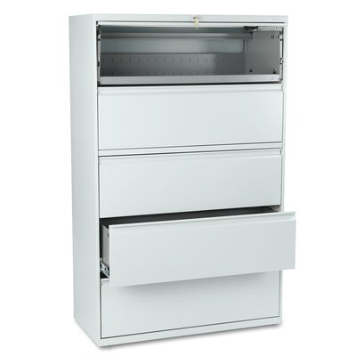 "HON 800 Series 42"" W Five-Drawer Lateral File with Locks"