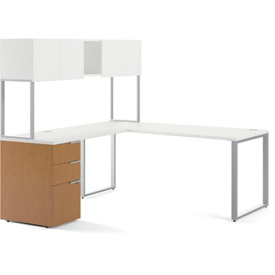 HON Voi Contemporary L-Station Desk with Stackon Storage
