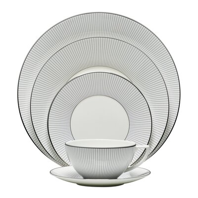 Blue Pinstripe 5 Piece Place Setting