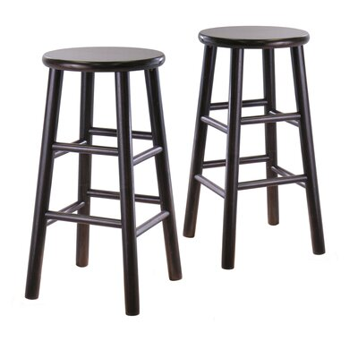 "Winsome Bevel Seat 24"" Counter Stool in Espresso (Set of 2)"