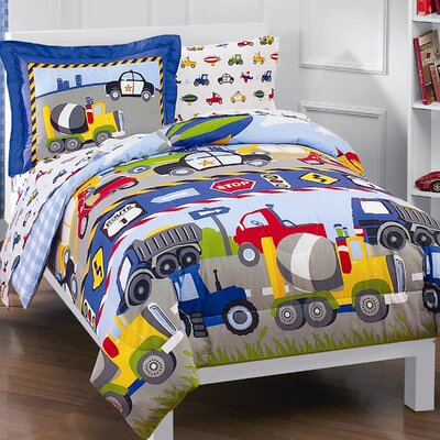 Trains and Trucks 5 Piece Twin Bed in a Bag Set