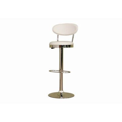 Wholesale Interiors Chardonnay Mid - Back Adjustable Height Barstool in White