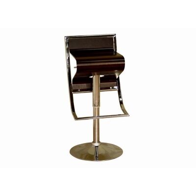 Wholesale Interiors Chenin Low - Back Adjustable Height Barstool in Brown