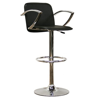 Wholesale Interiors Lava Adjustable Barstool in Black