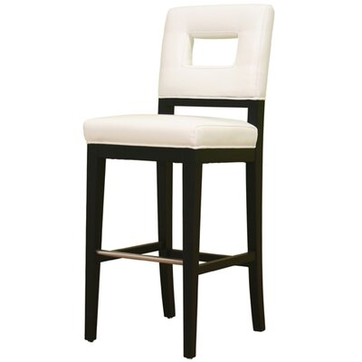 Wholesale Interiors Meiji Leather Barstool in White