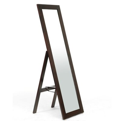 Wholesale Interiors Baxton Studio Lund Wood Modern Mirror with Built-In Stand