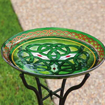 Celtic-Inspired Stained Look Birdbath