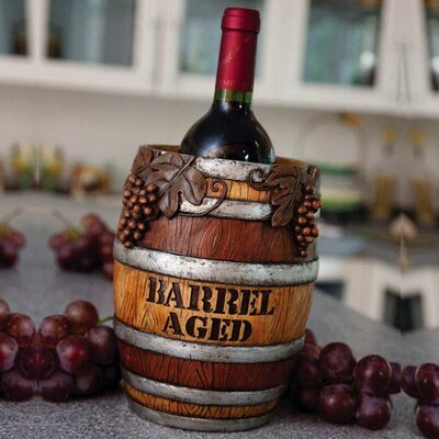 Cypress Home Wine Barrel Resin Wine Bottle Holder