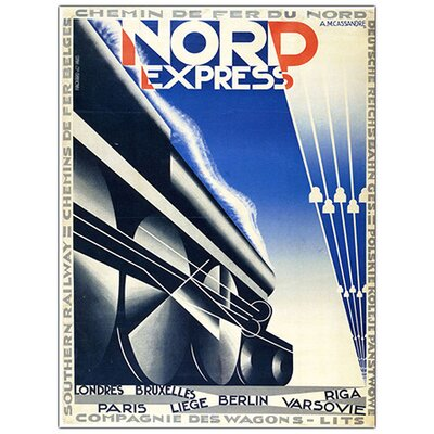 Nord Express by Adolphe Cassandre, Traditional Framed Canvas Art - 32