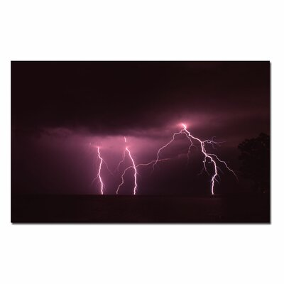 "Trademark Fine Art Lake Lightning by Kurt Shaffer, Canvas Art - 16"" x 24"""