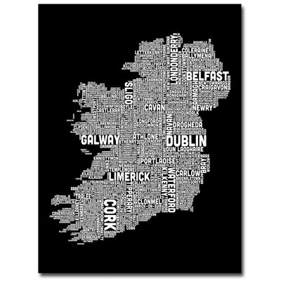 Ireland City Map X Canvas Wall Art