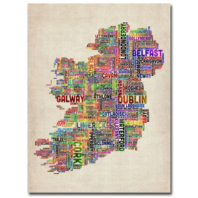 Ireland City Text Map II Canvas Wall Art