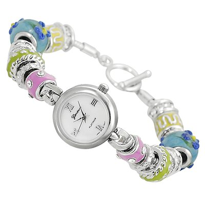 Geneva Platinum Women's Rhinestone Accented Beaded Toggle Watch