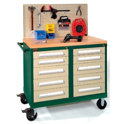 "Lyon Workspace Products Bench High Extra-Wide Mobile Tool Cabinet with 10 Drawers and Wood Top: 45"" W x 28 1/4"" D x 40""  H"