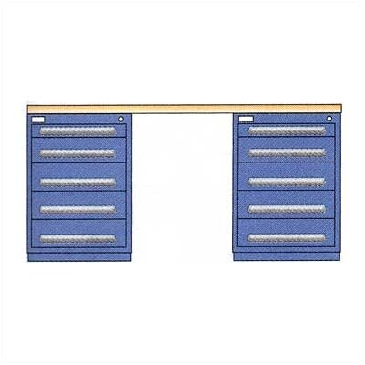 "Lyon Workspace Products Modular Drawer Workstation with 2, 5 Drawer Slenderline Cabinets: 72"" W x 28"" D x 35 1/2""  H"
