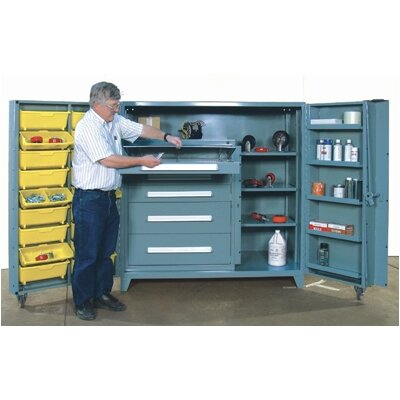 "Lyon Workspace Products 60"" Wide Cabinet w/ 36"" W Modular Drawers and Adjustable Shelves"