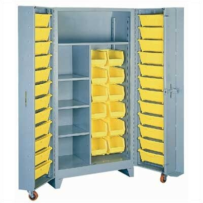 "Lyon Workspace Products Deep Door 1 Shelf, 36 Bin Cabinet: 76"" H x 38"" W x 28"" D"