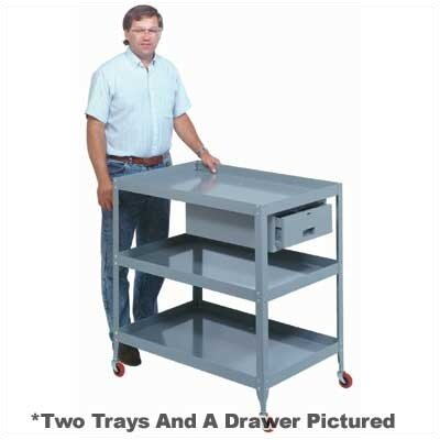 "Lyon Workspace Products Mobile Tool Stand - 2 Trays and Drawer: 37 1/4"" H x 28"" W x 36"" W"