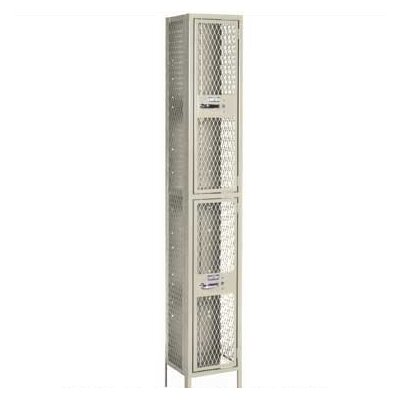 Lyon Workspace Products Expanded Metal Lockers - Double Tier - 2 Sections (Unassembled)