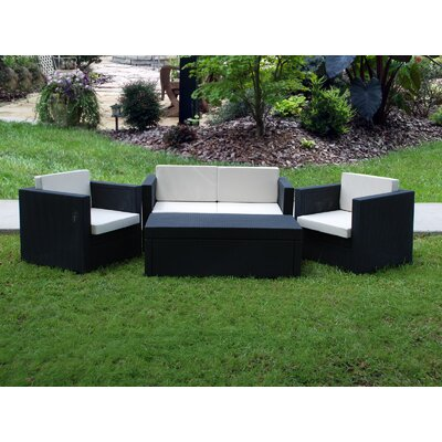 International Home Miami Bali Synthetic 4 Piece Deep Seating Group with Cushions