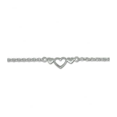Sterling Essentials Sterling Silver 9 inches Heart Anklet
