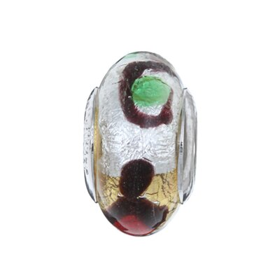 Signature Moments Sterling Silver Carnival Murano Glass Bead in Black, Brown, Red, Green and ...