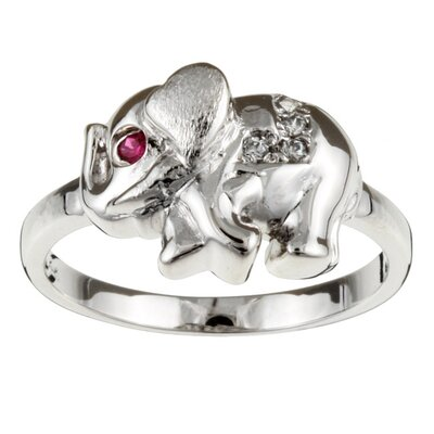 Sterling Silver Red Cubic Zirconia Lucky Elephant Ring