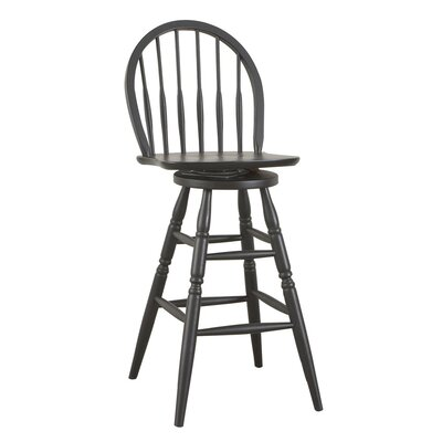 Carolina Cottage 30&quot; Antique Black Swivel Windsor Barstool