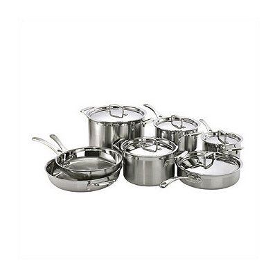 Le Creuset 3-Ply Stainless Steel 12-Piece Cookware Set with Crate