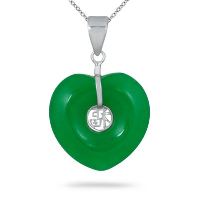 Sterling Silver Heart Cut Jade Heart Pendant