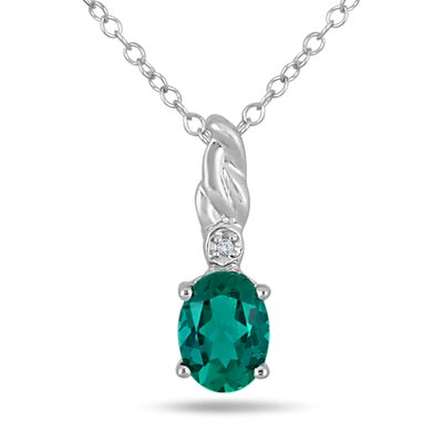 Sterling Silver Oval Cut Emerald Pendant