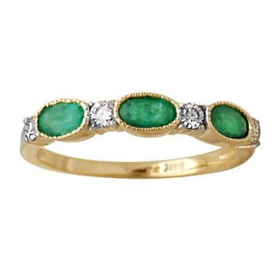 14K Yellow Gold Oval Cut Emerald Ring