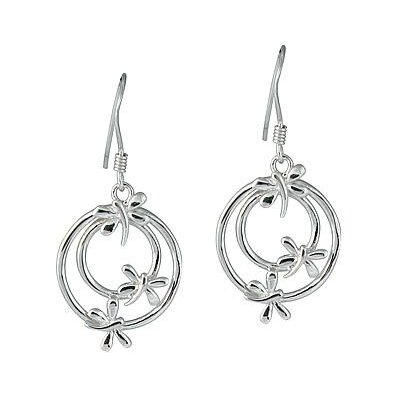 Butterfly Circle Drop Earrings