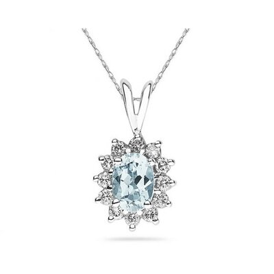 14K White Gold Oval Cut Aquamarine Flower Pendant
