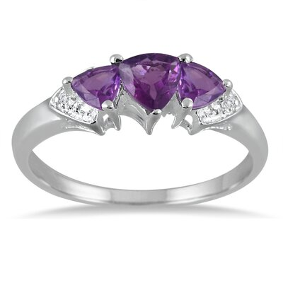 Szul Jewelry Sterling Silver Trillion Cut Amethyst Ring