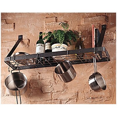 Rogar Gourmet Bookshelf Wall Mounted Pot Rack