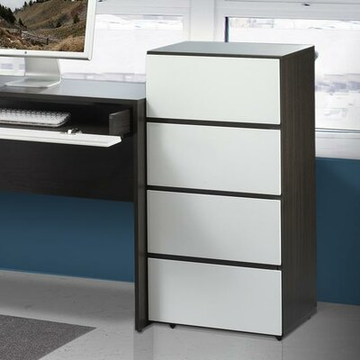 Nexera Allure 36&quot; Storage Cabinet in White and Ebony with 3 Drawers