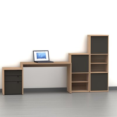 Nexera Infini-T One Door Bookcase in Biscotti and Espresso