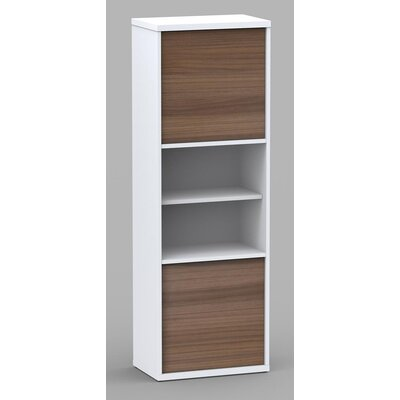Liber-T Two Door Bookcase in White/Walnut