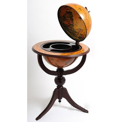 Old Modern Handicrafts Globe Bar 3 Legged Pedestal Stand Red