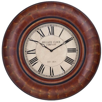 Cooper Classics Noelle Round Clock in Distressed Auburn