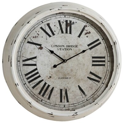 Daria Round Clock in Distressed White