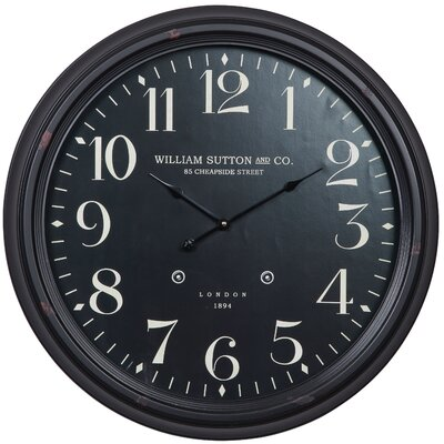 Cooper Classics Norton Clock in Distressed Aged Black
