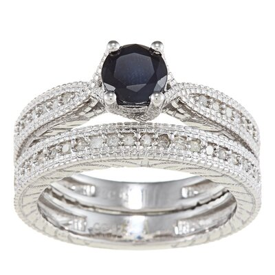 Sterling Silver Round Cut Sapphire and Diamond Bridal Set