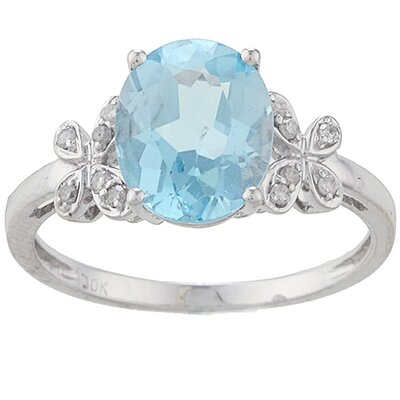 White Gold Oval Cut Gemstone and Diamond Ring